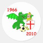 1966 England 2010 Round Stickers