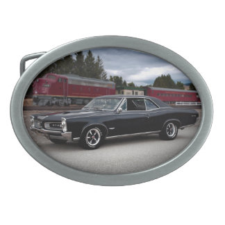 1966 Pontiac GTO Muscle Car Locomotive Train Oval Belt Buckles