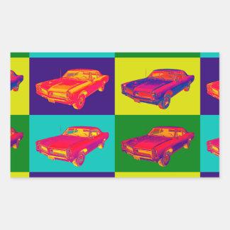 1966 Pontiac Lemans Car Pop Art Rectangular Sticker