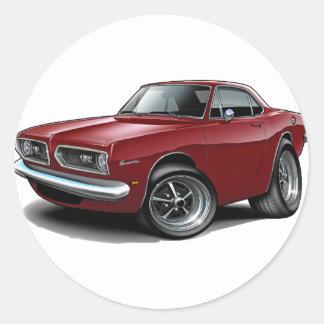 1967-69 Barracuda Maroon Coupe Round Sticker