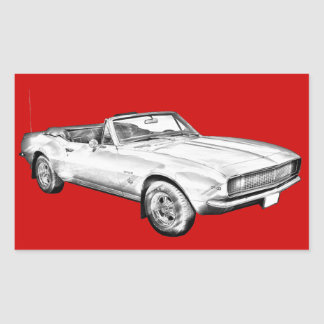 1967 Camaro muscle Car Illustration Rectangular Stickers