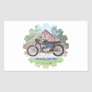 1967 Classic Motorcycle Yamaha Rectangle Stickers