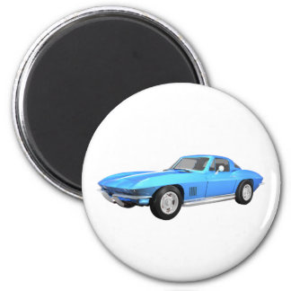 1967 Corvette Sports Car: Blue Finish: 6 Cm Round Magnet