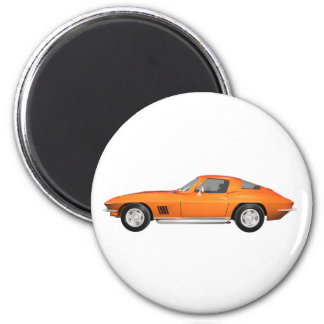 1967 Corvette Sports Car: Orange Finish 6 Cm Round Magnet