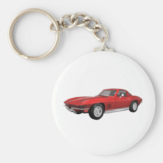 1967 Corvette: Sports Car: Red Finish: Key Ring