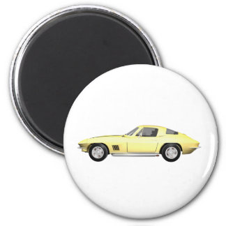 1967 Corvette Sports Car: Yellow Finish 6 Cm Round Magnet