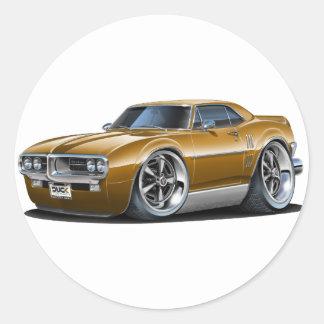 1967 Firebird Brown Car Round Sticker