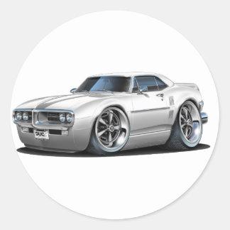 1967 Firebird White Car Classic Round Sticker