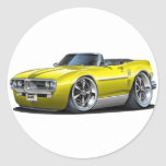 1967 Firebird Yellow Convertible Classic Round Sticker