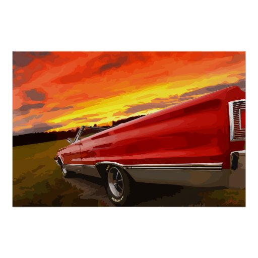 1967 Plymouth Satellite Convertible Sky Fire Poster