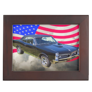 1967 Pontiac GTO and American Flag Keepsake Box