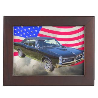 1967 Pontiac GTO and American Flag Keepsake Box