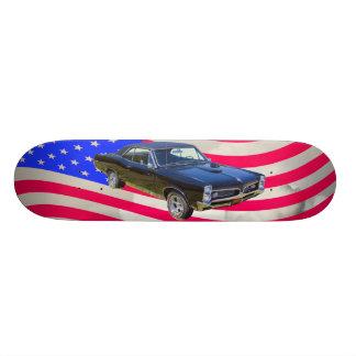 1967 Pontiac GTO and American Flag Skate Deck