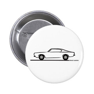 1968 1969 Plymouth Barracuda 6 Cm Round Badge
