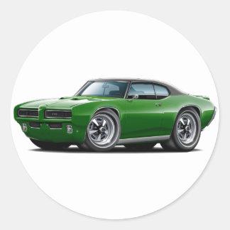1968-69 GTO Dk Green-Black Top Car Round Sticker