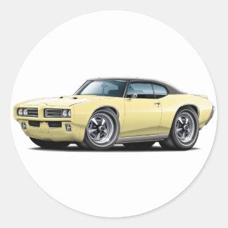 1968-69 GTO Lt Yellow-Black Top Car Round Sticker