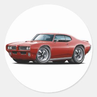 1968-69 GTO Maroon Car Round Sticker