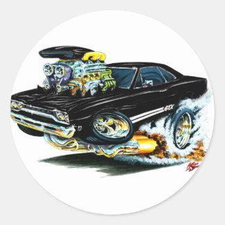 1968-69 Plymouth GTX Black Car Round Stickers