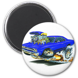 1968-69 Plymouth GTX Blue Car 6 Cm Round Magnet