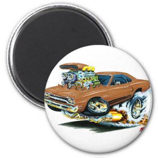 1968-69 Plymouth GTX Brown Car 6 Cm Round Magnet