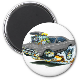 1968-69 Plymouth GTX Grey Car 6 Cm Round Magnet