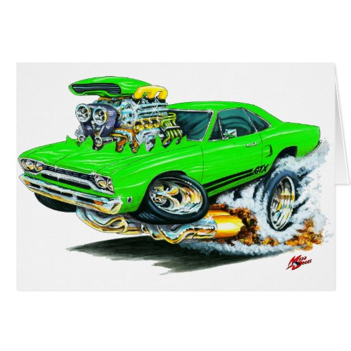 1968-69 Plymouth GTX Lime Car Greeting Cards