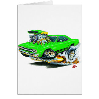 1968-69 Plymouth GTX Lime Car Greeting Card