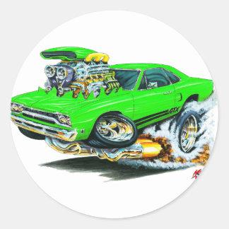 1968-69 Plymouth GTX Lime Car Round Sticker