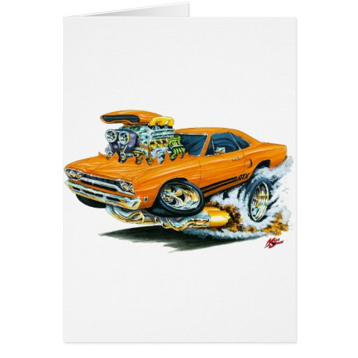 1968-69 Plymouth GTX Orange Car Card