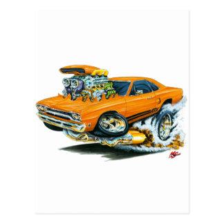 1968-69 Plymouth GTX Orange Car Postcard