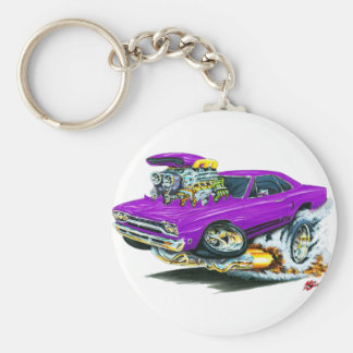 1968-69 Plymouth GTX Purple Car Basic Round Button Key Ring