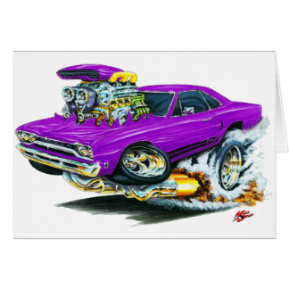 1968-69 Plymouth GTX Purple Car Greeting Cards