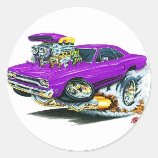 1968-69 Plymouth GTX Purple Car Round Sticker