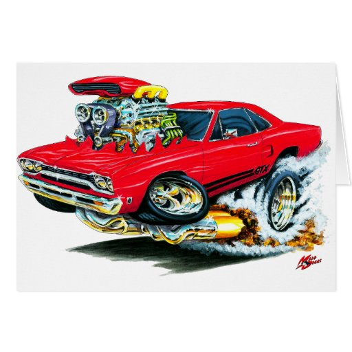 1968-69 Plymouth GTX Red Car Cards