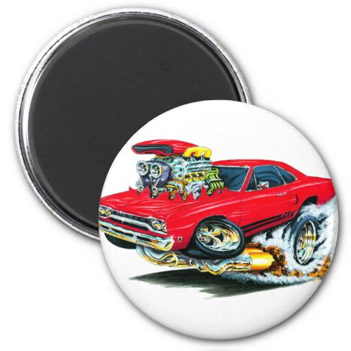 1968-69 Plymouth GTX Red Car Magnets