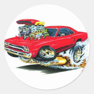 1968-69 Plymouth GTX Red Car Round Sticker