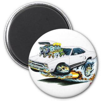 1968-69 Plymouth GTX White Car 6 Cm Round Magnet