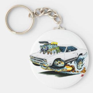 1968-69 Plymouth GTX White Car Basic Round Button Key Ring