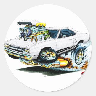 1968-69 Plymouth GTX White Car Round Sticker