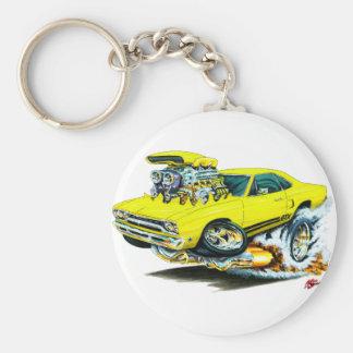 1968-69 Plymouth GTX Yellow Car Basic Round Button Key Ring