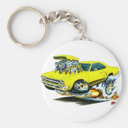 1968-69 Plymouth GTX Yellow Car Keychain