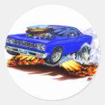 1968-69 Roadrunner Blue Car Classic Round Sticker