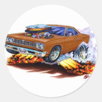 1968-69 Roadrunner Brown Car Round Sticker