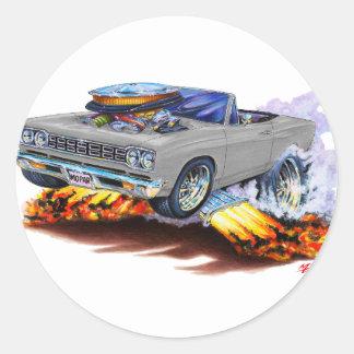 1968-69 Roadrunner Grey Convertible Round Sticker
