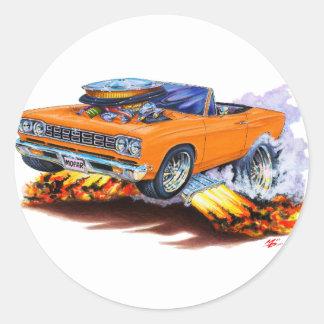 1968-69 Roadrunner Orange Convertible Round Sticker