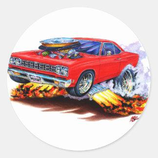 1968-69 Roadrunner Red Car Round Sticker