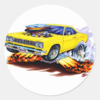 1968-69 Roadrunner Yellow Car Round Sticker