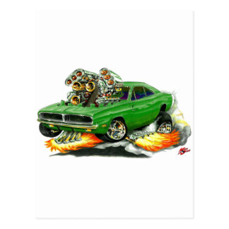 1968-70 Charger Green Car Post Cards