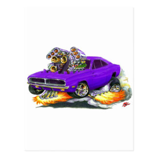 1968-70 Charger Purple Car Post Card