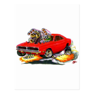 1968-70 Charger Red Car Post Card